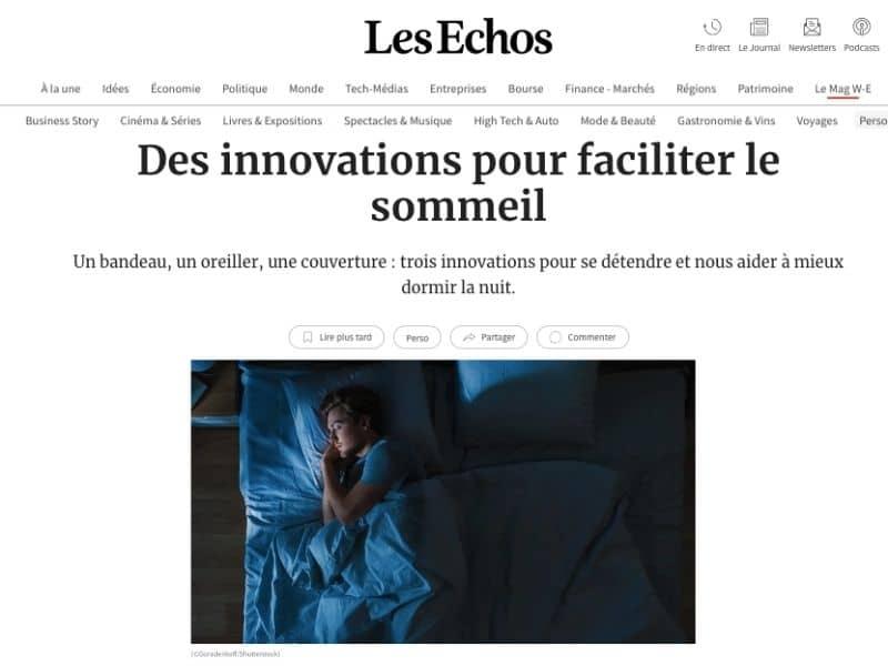article les echos sur les innovations sommeil et couverture lestée